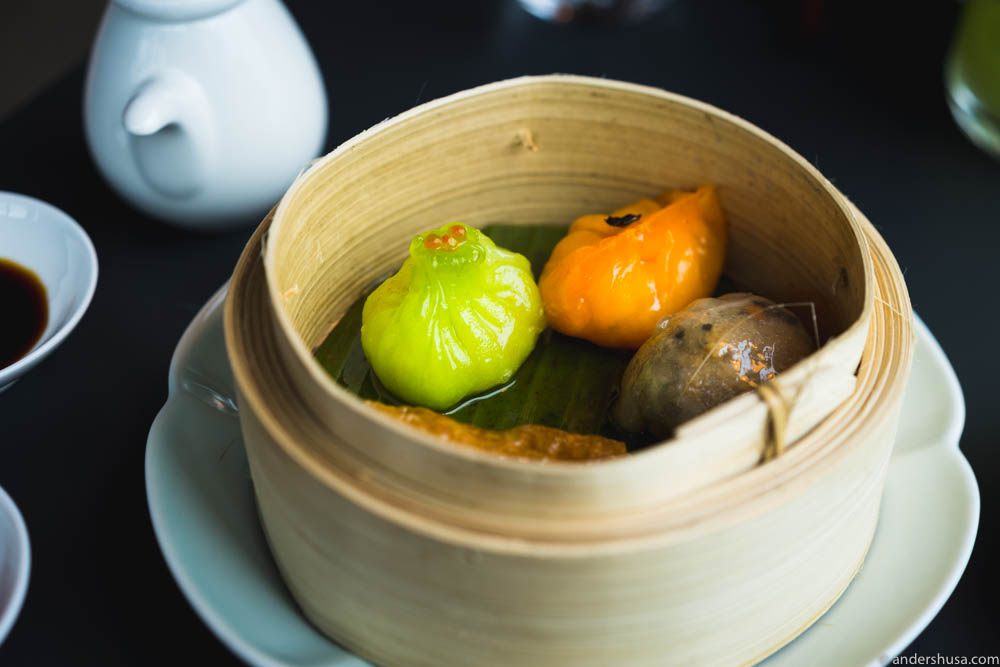 Dim sum. Vegetable bean curd roll, crystal dumpling, Norwegian king crab dumpling, and sole dumpling with black truffle.