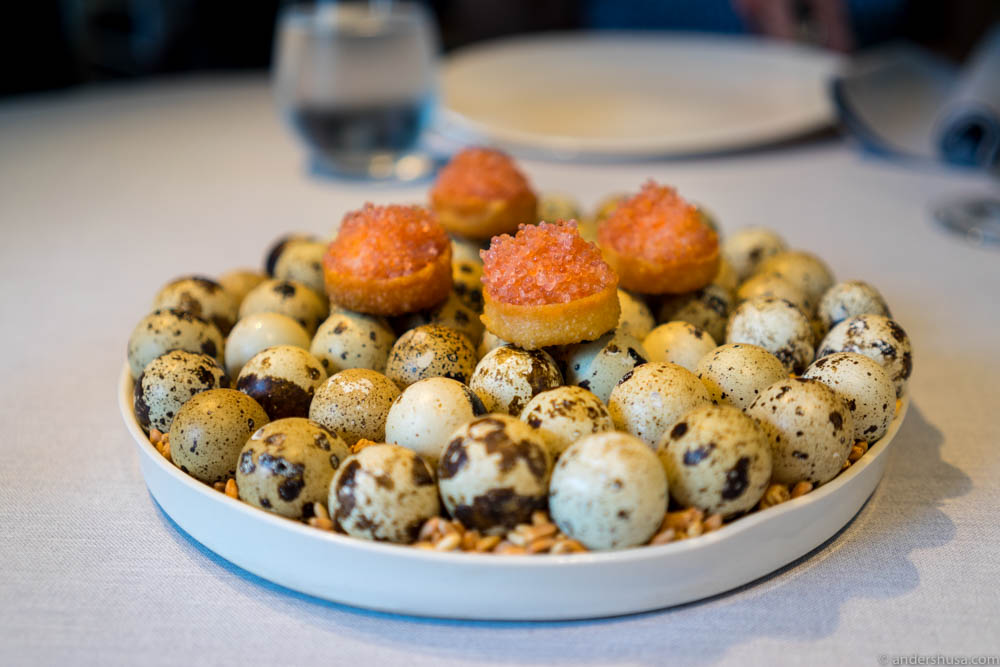 Egg with eggs and egg (lumpfish roe, baked quail egg and dried cod roe)