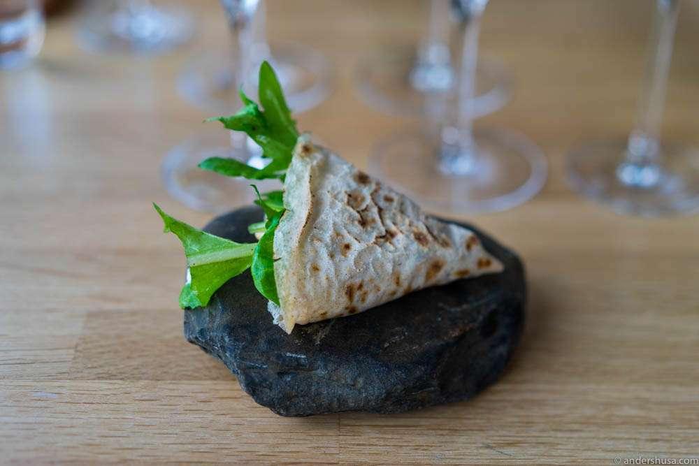 Hjälmaren taco! Buckwheat tortilla, lettuce, blue cheese cream & almonds.