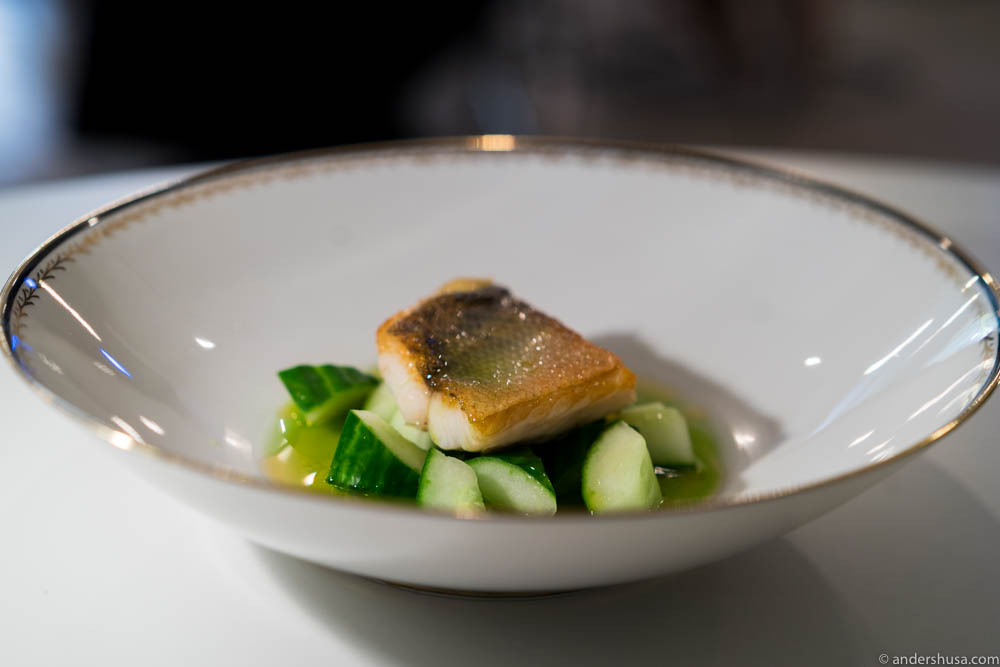 Pike-perch, cucumber, brown butter and dill