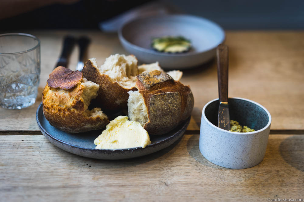 Sourdough bread with butter and squash compote