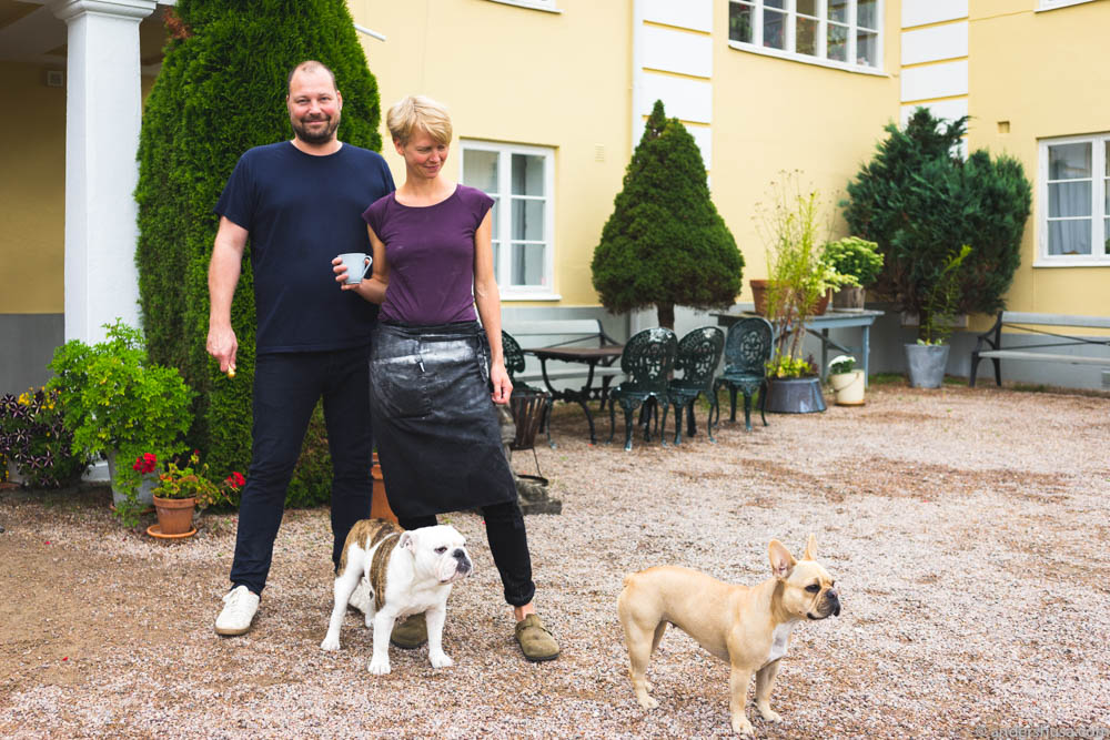 Owners David and Emma, and their dogs Majo and Doris