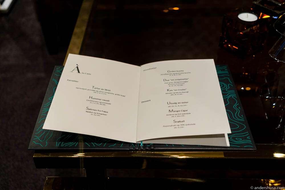 The menu at restaurant À L'aise.