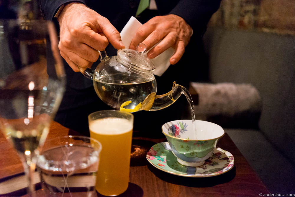 A cup of tea (or technically tisane) to cleanse the palate?