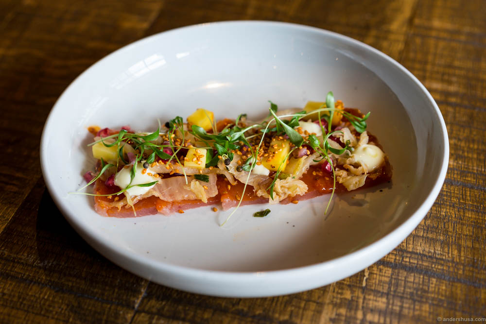 Tiradito with wild halibut, wasabi mayo, mango, pomegranate, sesame, seeds, and kimchi.
