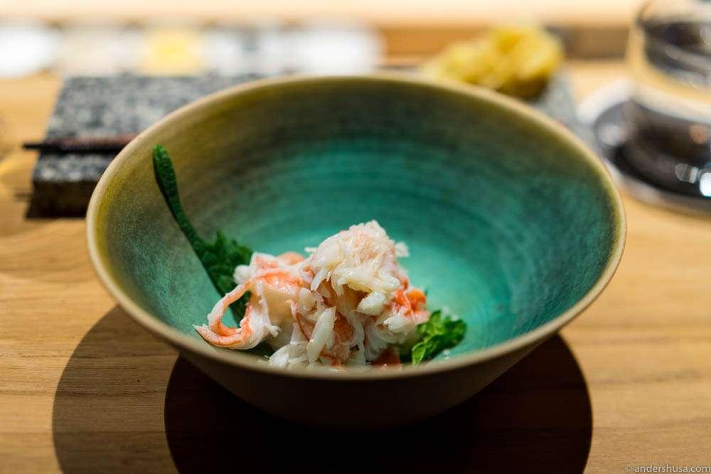 Snow crab, arctic salt, yuzu & shiso