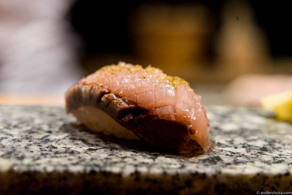 Hamachi aburi, shoyu, arctic salt & sansho