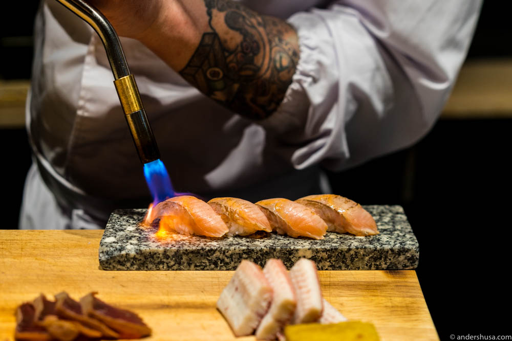Mountain trout (torched), aburi, sweet shoyu & shoga