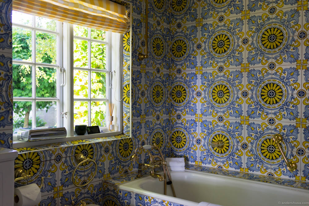 Spectacular bathroom with hand painted Spanish tiles