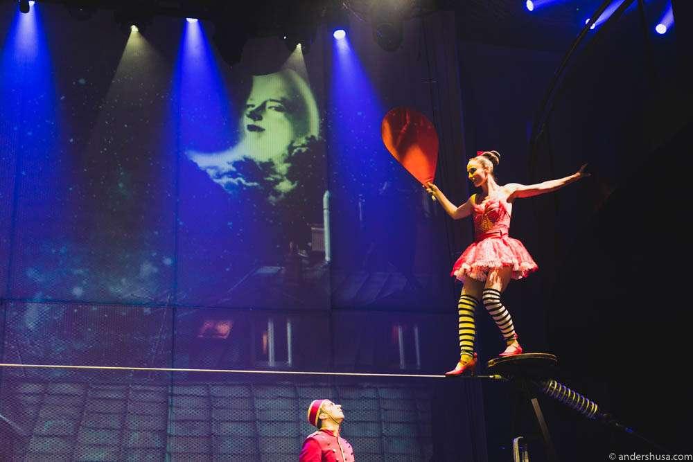 The Cirque du Soleil tightrope walker