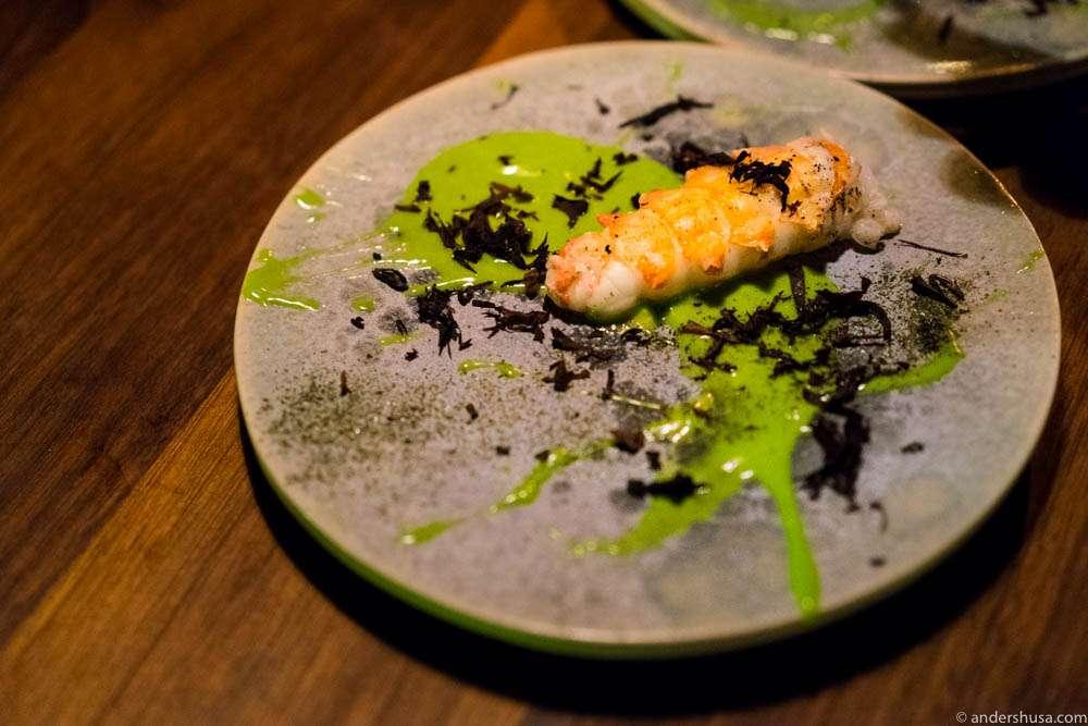 Langoustine, chives mayo & söl (Icelandic seaweed)