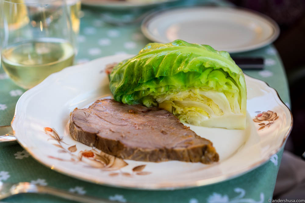 Main course: Pork neck with ginger-cooked cabbage
