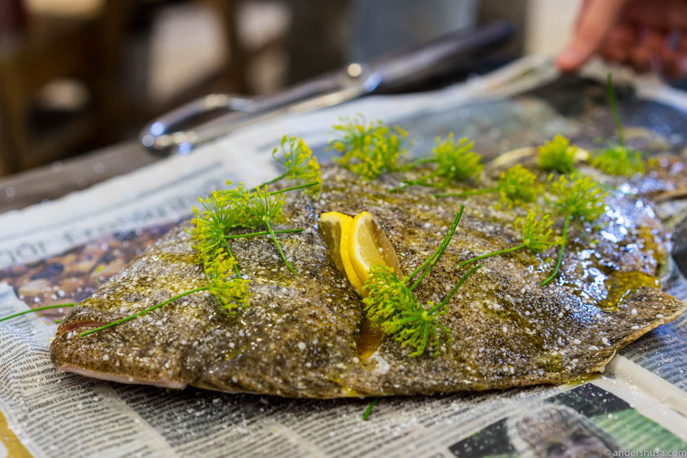 Turbot seasoned and ready for cooking