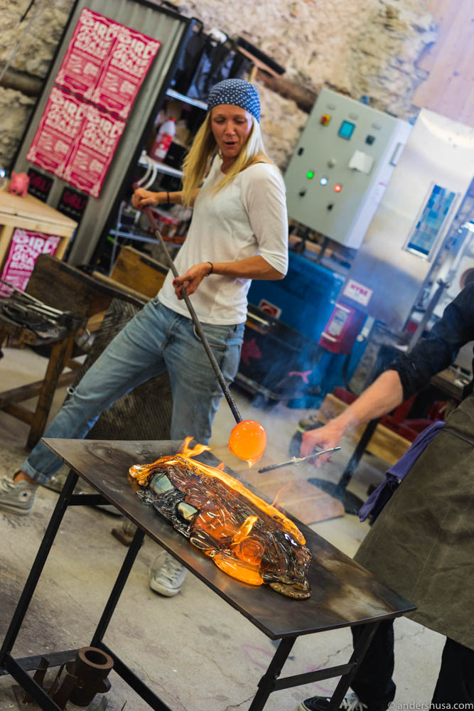 Jennie and Luqaz cooking with molten glass