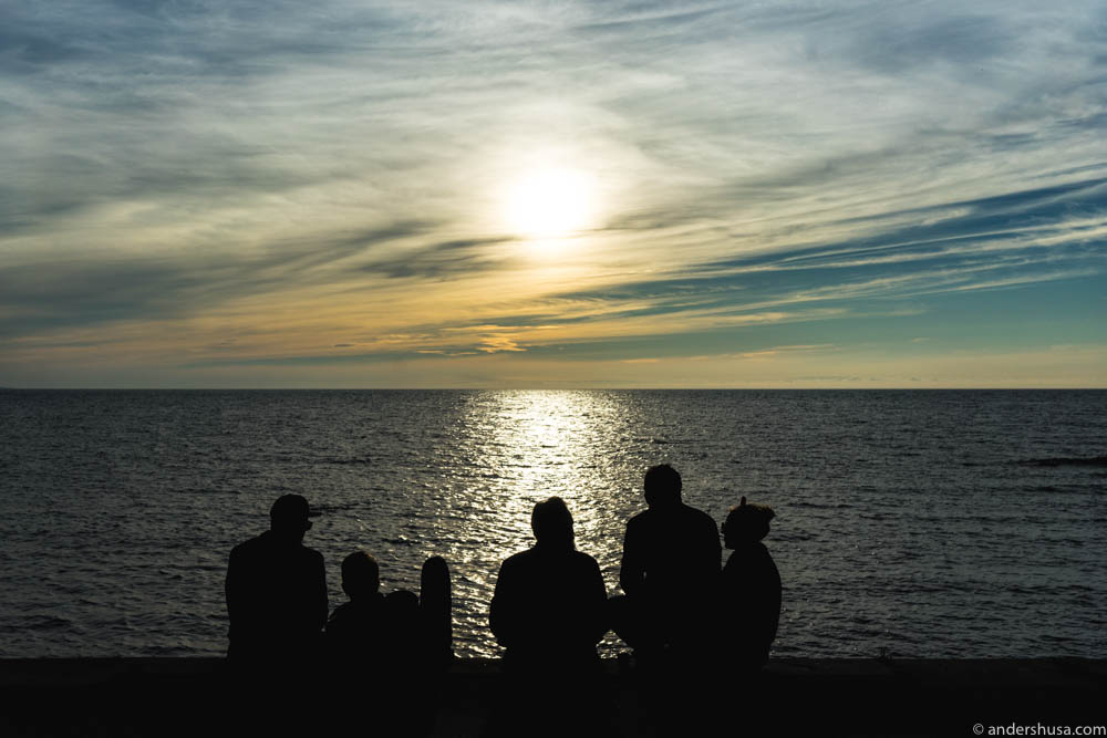 People gather in Visby to watch these spectacular sunsets