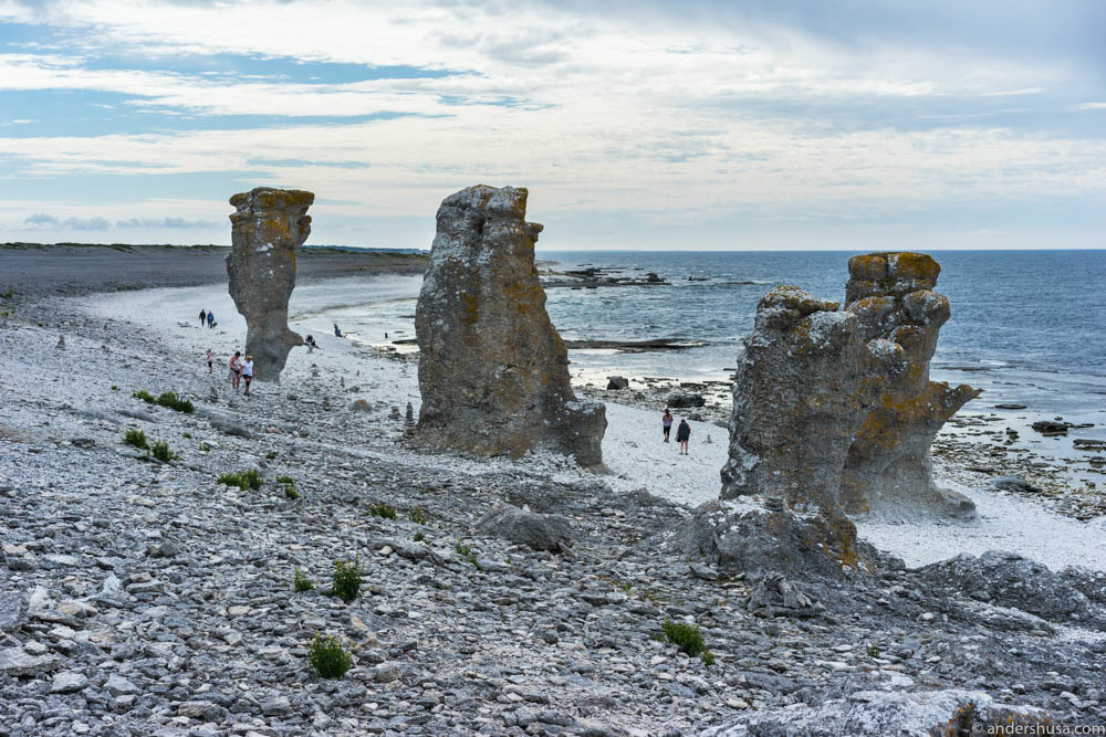 The sea stacks (rauks) of Langhammar on Fårö