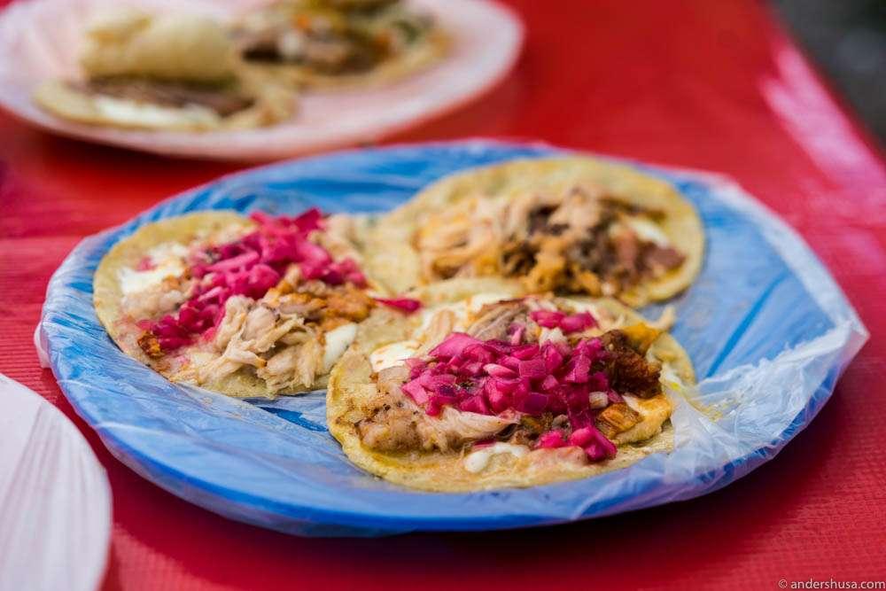 Cochinita Pibil with pickled red onions at Taqueria Honorio