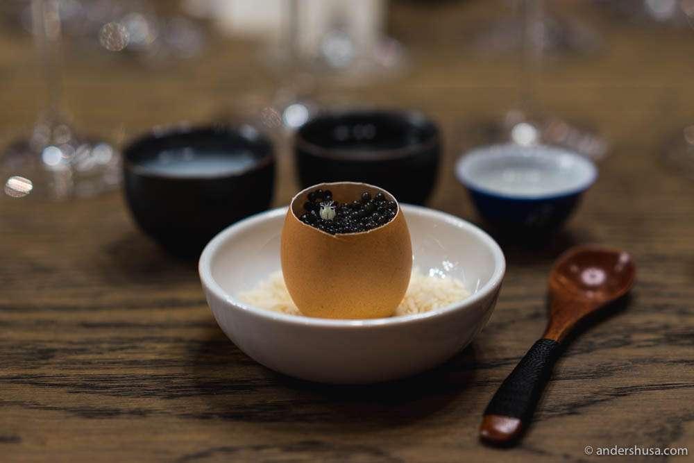 Chawanmushi (savory egg custard), caviar & leek