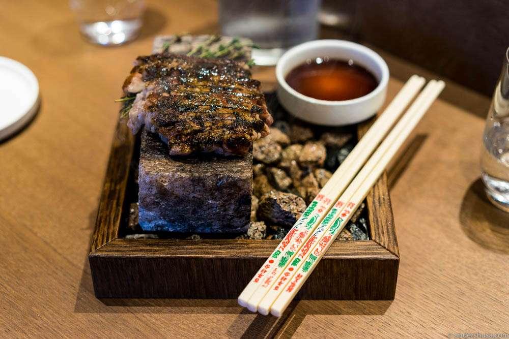 Wagyu cooked on Himalayan salt rock with umami sauce