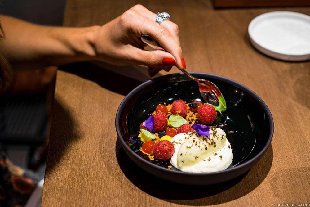 "Raspberries, lemon cream, white chocolate ""bavaroise,"" olive oil sorbet, candied black olives"