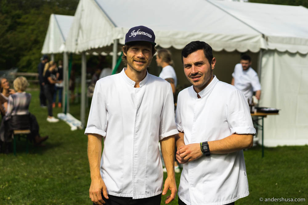 Geranium's head chef Rasmus Kofoed to the left, and Thanos Feskos the assistant head chef