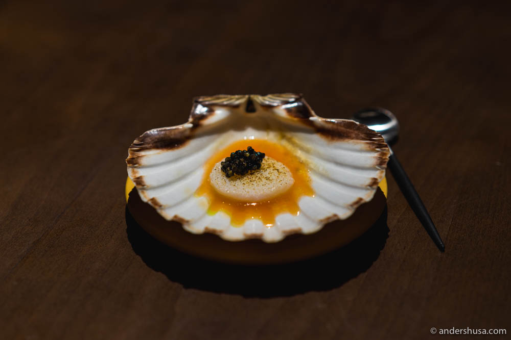 "No, it's ""scallops"" and ""caviar"""