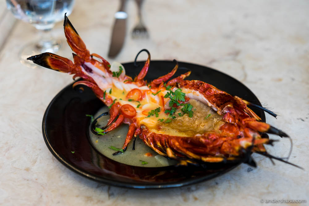 Giant red shrimp with Bairro's special sauce