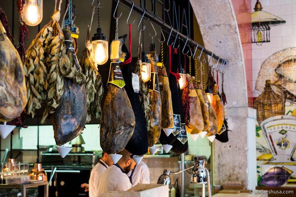 The ham selection at Bairro do Avillez