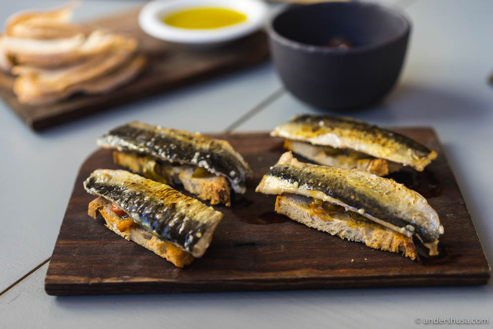 Sardines on toasted bread