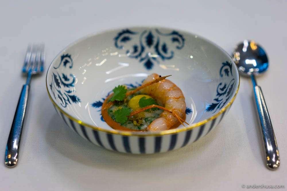 Coast shrimp tarid, pickles, and coriander