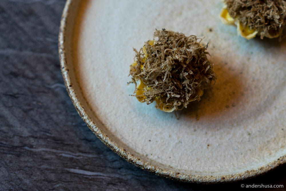Yuba! Scrambled eggs from guinea-fowl with condensed Swedish maple syrup & autumn truffle