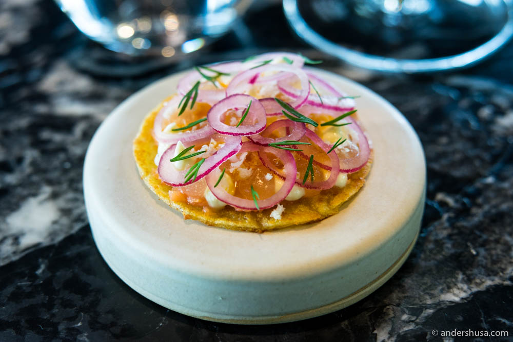 """Lompe"" with fermented trout and horseradish"