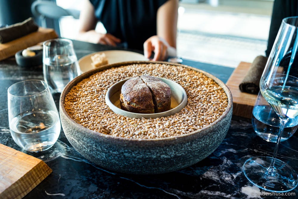 Bread made from freshly milled Norwegian heritage wheat, served with Maaemo's own butter