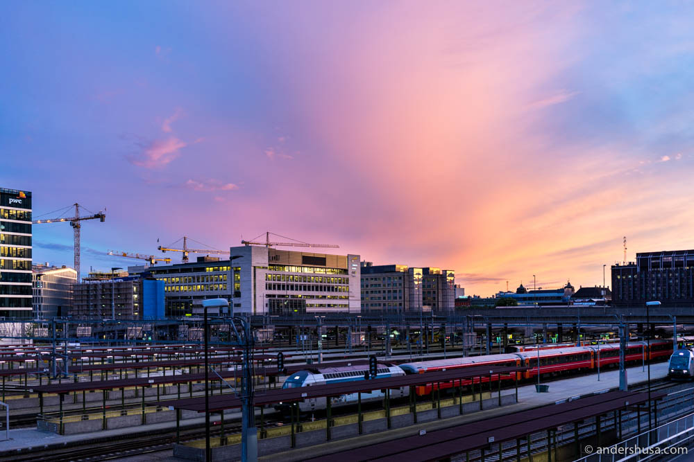 Sunset on Bjørvika and Oslo central train station