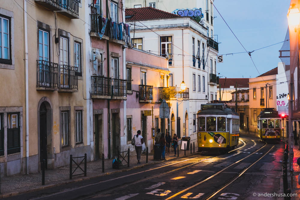 The tram lines in the Alfama district
