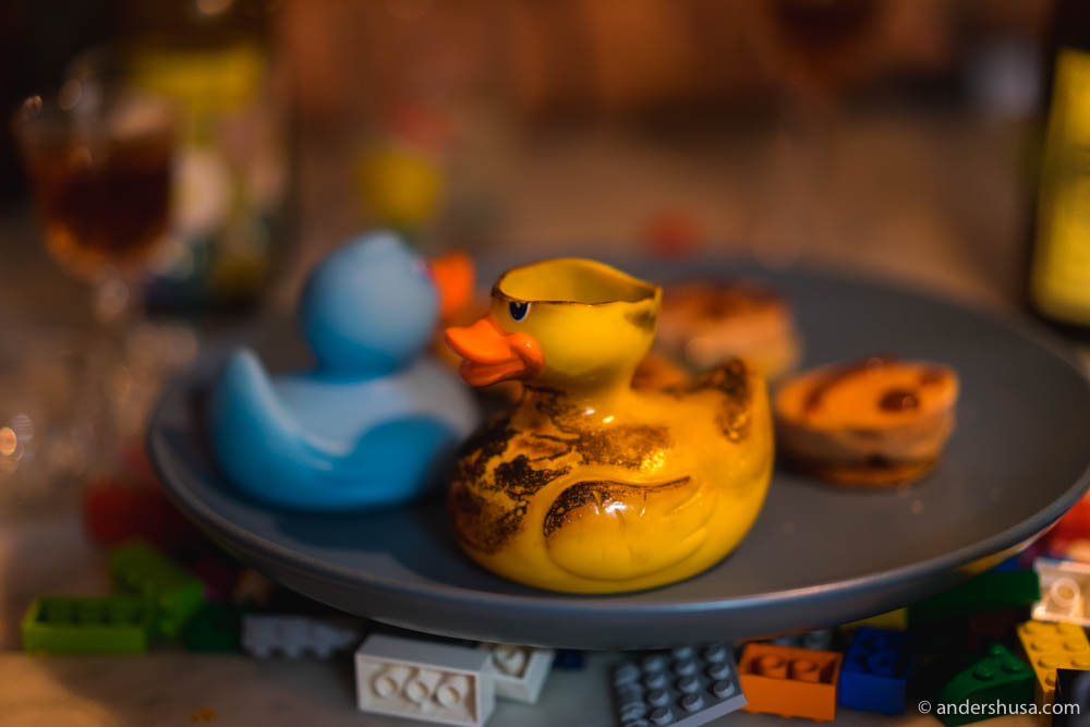 A flame-torched, mistreated rubber duck