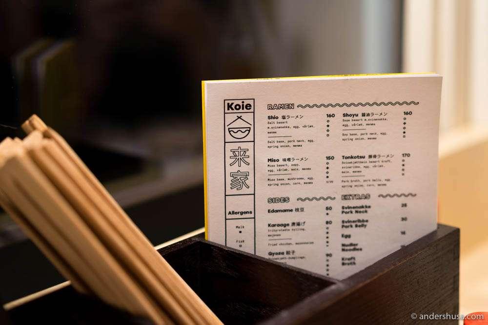 The menu at Koie Ramen in Torggata