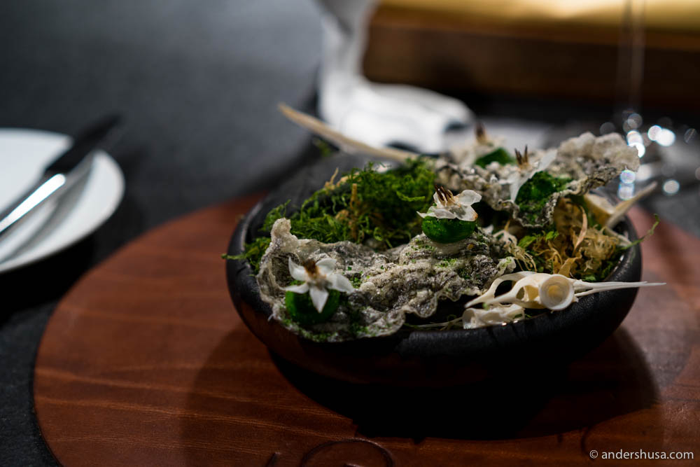 Crispy fish skins with emulsified dill and dried seaweed
