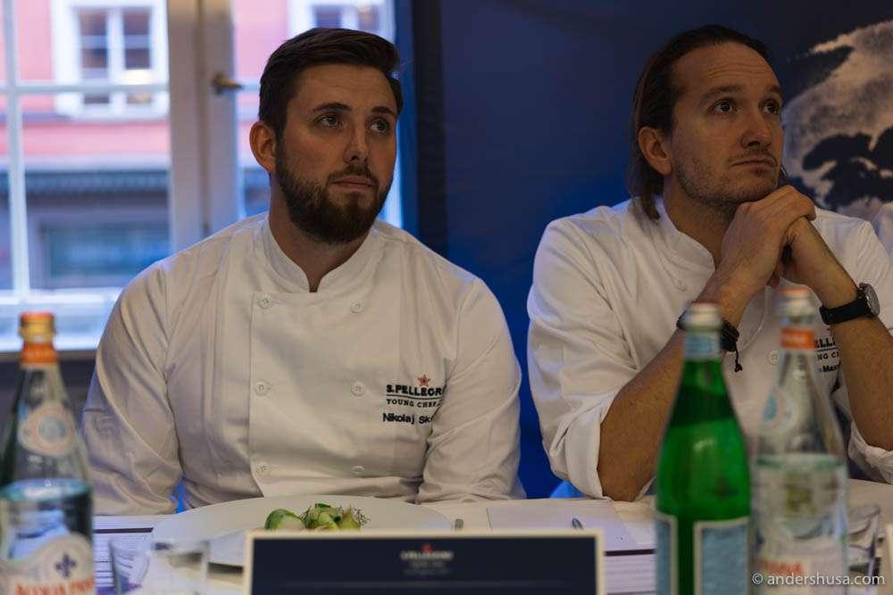 Judges Nikolaj Skadborg (from Denmark) and James Maxwell-Stewart (from restaurant Cru, Norway)