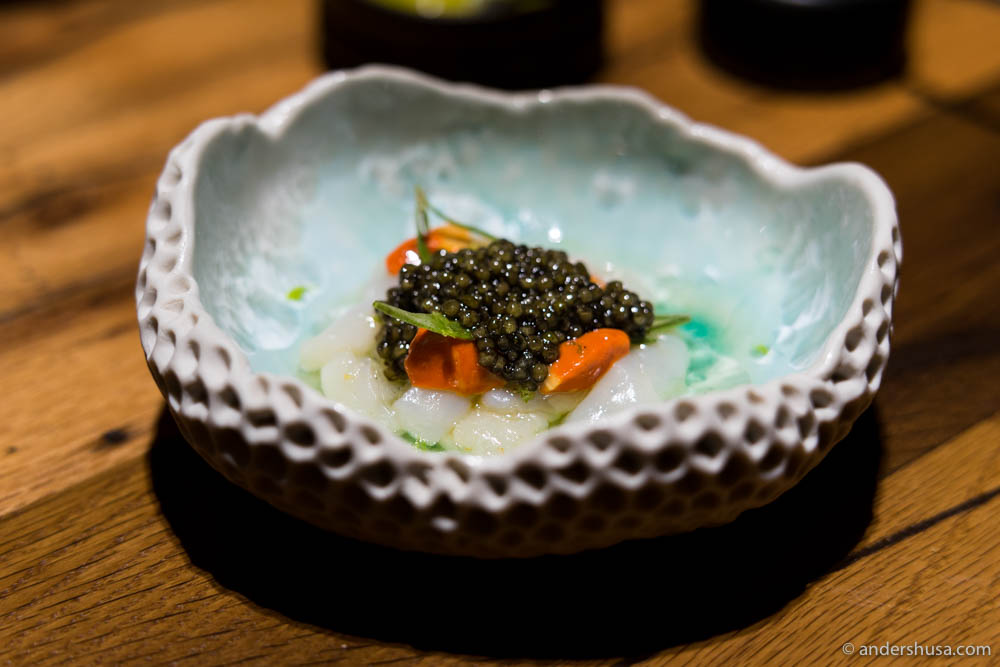 Rossini caviar, scallops, and vanilla oil with sea herbs
