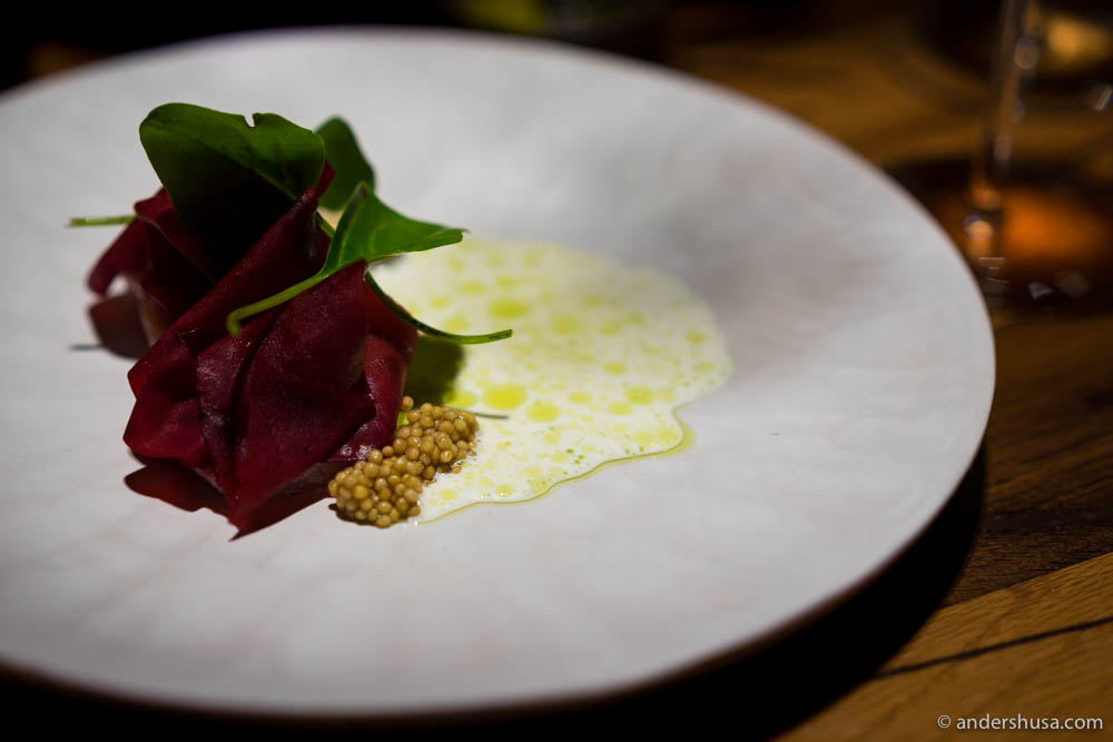 Tuna, beetroot, and white cheese
