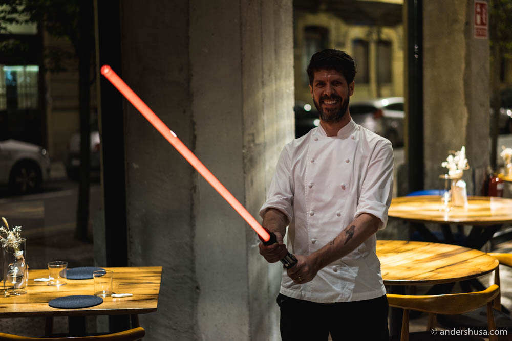 Chef Paulo Airaudo with his lightsaber