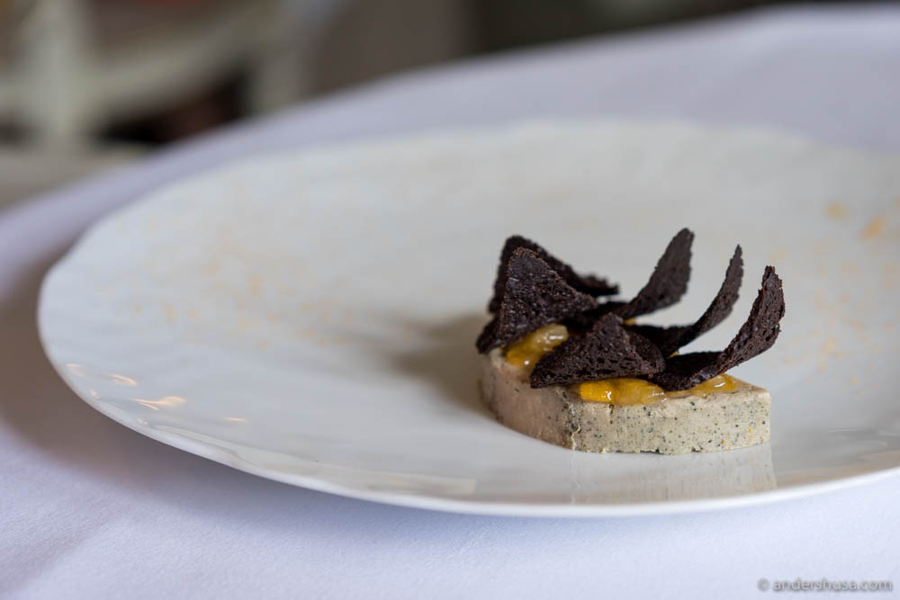 "Foie gras ""au torchon"", kumquat purée, crisps of brioche infused with cocoa at No. 7 – Søllerød Kro in Copenhagen, Denmark"