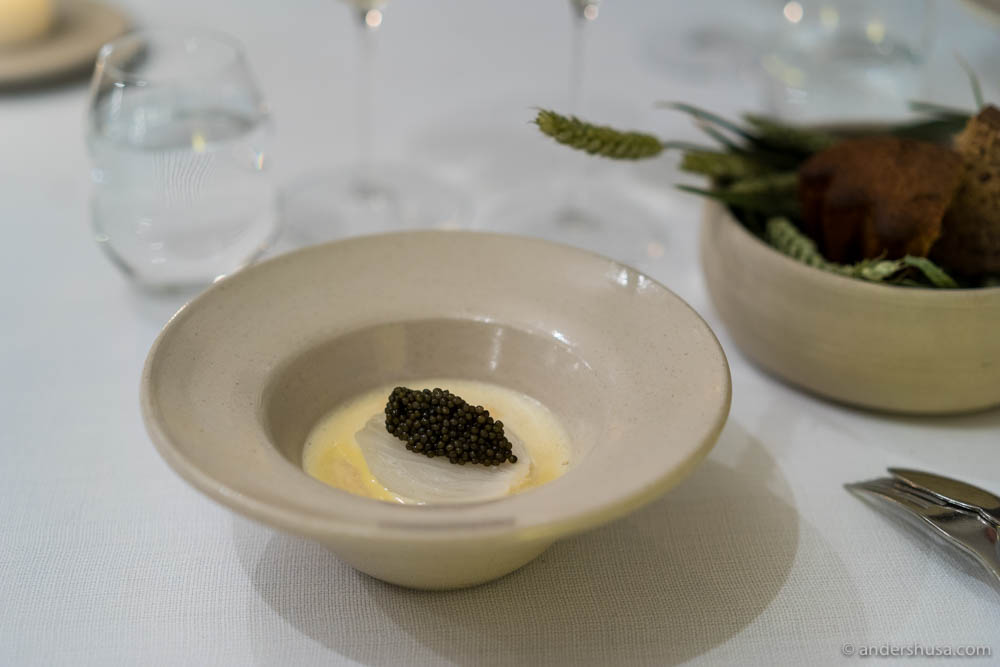Baked onion with caviar & a sauce of elderflower at No. 12 – AOC in Copenhagen, Denmark