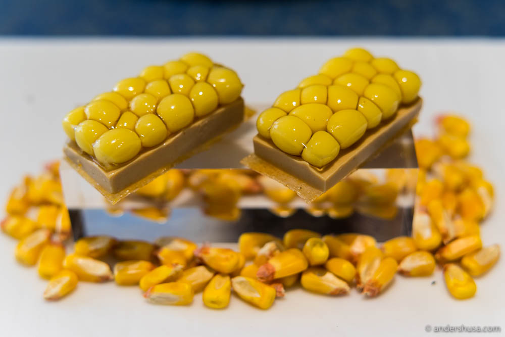 Foie gras and multi-spherification of corn at No. 8 – Disfrutar in Barcelona, Spain