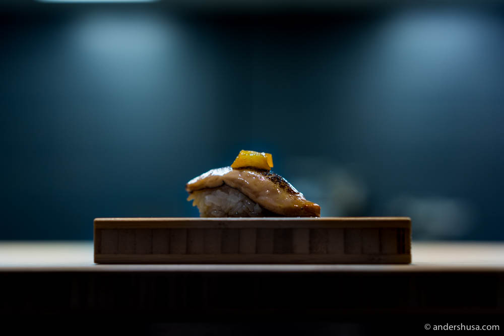 Nigiri with foie gras, pickled kumquat, and teriyaki sauce at No. 6 – Sabi Enzo in Sandnes, Norway