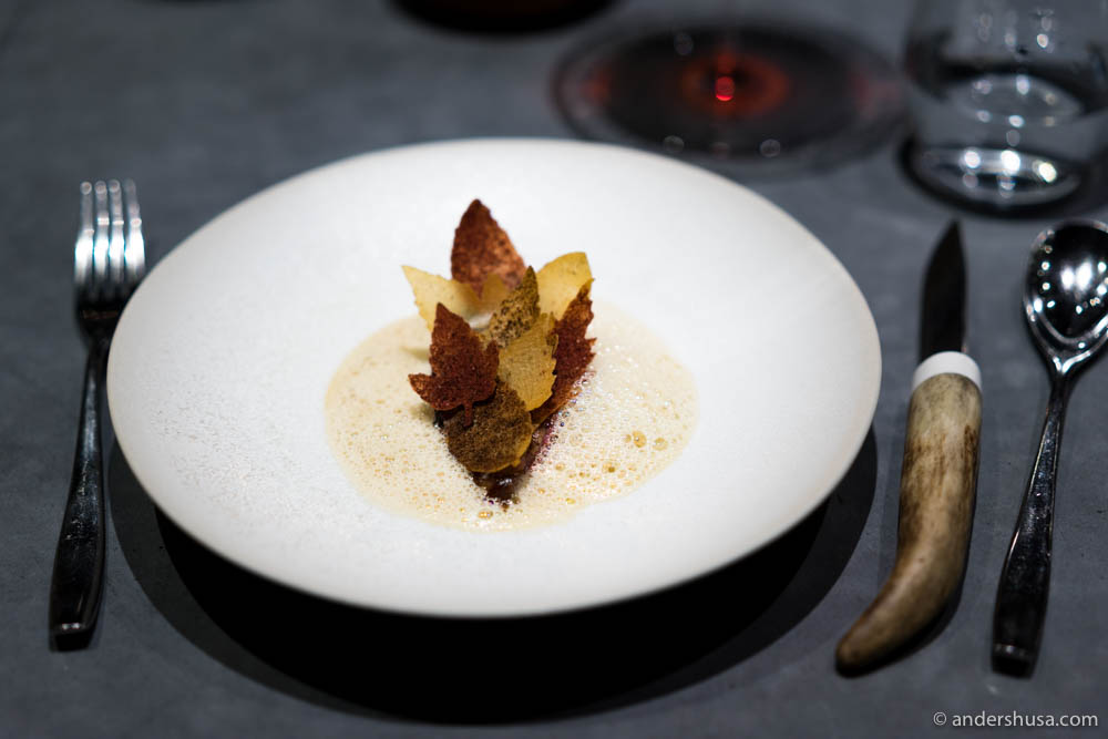 Aged pigeon with autumn leaves at No. 1 – Maaemo in Oslo, Norway