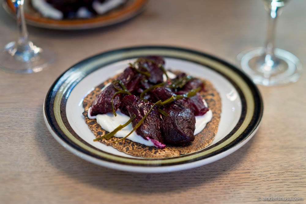 """Flatkökur,"" Icelandic flatbread with slow-cooked red beets, seaweed & Nýr at No. 22 – Brutus in Oslo, Norway"