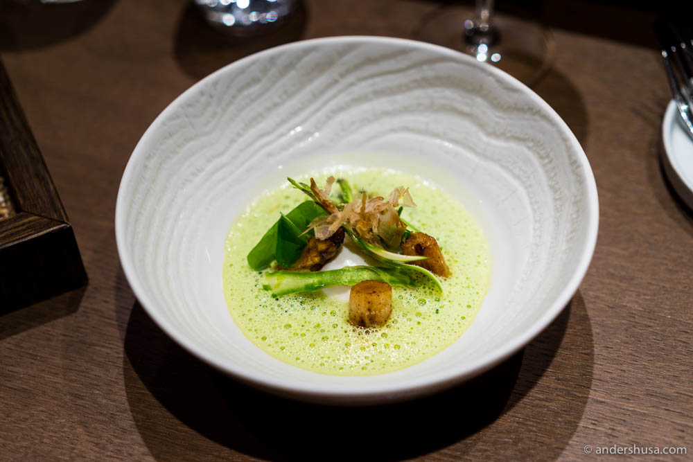 Green & white asparagus, asparagus milk broth, poached egg, ramson & bonito flakes at No. 18 – Fyr Bistronomi in Oslo, Norway