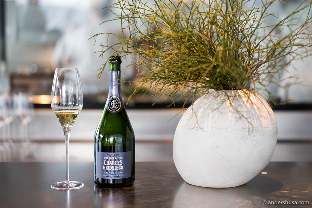 Charles Heidsieck Brut Réserve when it was the house Champagne at restaurant Maaemo